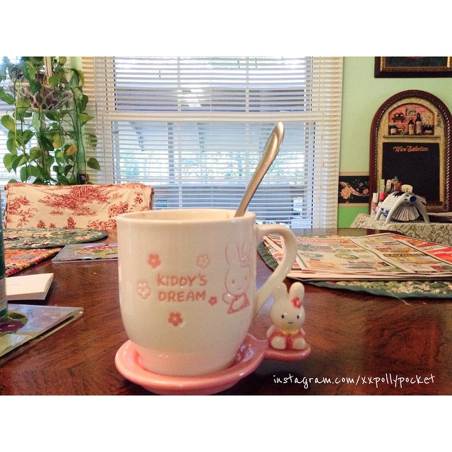 #littlemomentsapp my favorite coffee cup and lid/saucer that i keep at my moms